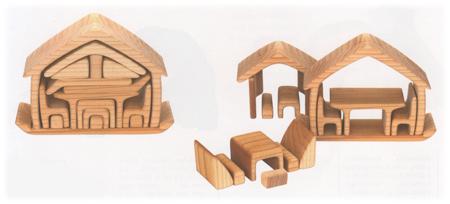 木製ちいさなおうち 家具付き ナチュラル ままごと おもちゃ